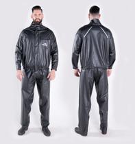 Capa de Chuva Para Unissex Motoqueiro em PVC Reforçada Preta Piraval Plus -