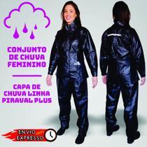 Capa de Chuva  Plus Motoqueiro PVC ImpermeÃvel Preta Tamanho GG Feminina - Piracapas