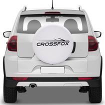 Capa de Estepe Crossfox 2005 A 2018 Branca com Grafia Aro 15 e 16 Elástico e Cadeado - Splody