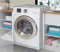 Capa de Máquina de Lavar - Abertura Frontal - Cinza - Vida Pratika