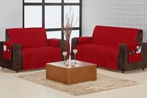 Capa de sofá 2 e 3 lugares c/ porta objetos matelado home - Decora Shopping