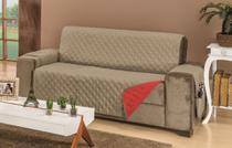 Capa de Sofá 3 Lugares 1,50m de Assento Dupla Face Manu - Vermelho e Cáqui - Carinho Enxoval E Decoração