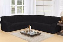 Capa de sofa de canto elasticada  5,2 metros preta - Enxovais Prearo