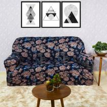 Capa De Sofá de Malha Alto Padrão 2+3 Lugares Roses Aquarela - Charme do Detalhe