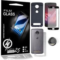 Capa Emborrachada Preta +Vidro Full 3D Preta +Pelic Camera +Skin Fibra carbono Moto Z2 Play Tela 5.5 - Cell In Power25