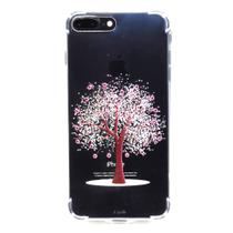 capa iphone 7 Plus iphone 8 Plus cristal estillo anti impacto feminina estampada arvore rosa