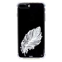 capa iPhone 7Plus iPhone 8Plus cristal Estillo anti impacto feminina pena branca
