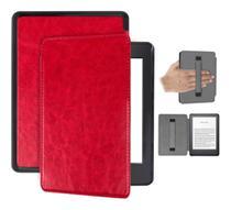 Capa Kindle 10ª geração com iluminação embutida  Auto Hibernação  Fecho Magnético  Alça Vermelha - Fullmosa
