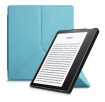 Capa Kindle Oasis 3 - Auto Liga/Desliga - Ultra Leve - Fechamento Magnético - Origami - Azul Claro - Fullmosa