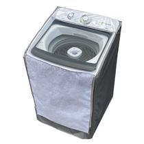 Capa Maquina de Lavar Consul 13kg 15kg 16kg Zíper Transparente Cinza - Vip Capas