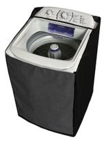 Capa Maquina De Lavar Electrolux 15kg Zíper Transparente Preta - Vip Capas