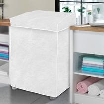 Capa Máquina de Lavar Flanelada Branca Perolizada P - Vida Pratika