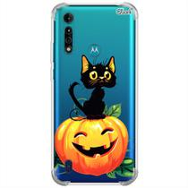 Capa p/ moto g8 power lite (0408) gato no halloween - Quarkcase