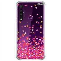 Capa p/ moto one macro (0010) corações rosa - QuarkCase