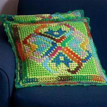 Capa para almofada em Renda Filé - Verde - Terrartesã