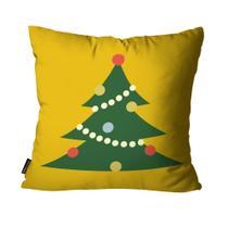 Capa para Almofada Mdecore Natal Arvore de Natal Amarela -