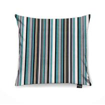 Capa para Almofada Tecido Estampado Listras Cinza e Azul Tiffany D73 - Drossi -