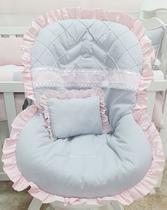 Capa para Bebê Conforto 100% Algodão Luxo Renda Rosa - Bruna Baby