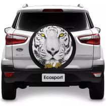 Capa para Estepe Tigre Wild Life Ecosport CrossFox 2005 a 2017 Air Cross 2011 a 2017 Spin Activ 2015 a 2017 Com Cadeado - Carrhel