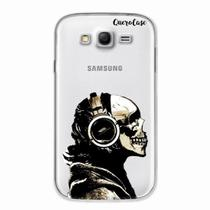 Capa para Galaxy Grand Duos Caveira Headphone Transparente - Quero case