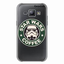 Capa para Galaxy J1 Star Wars Coffee Transparente