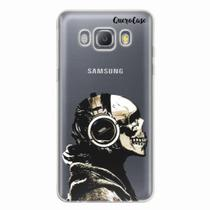 Capa para Galaxy J5 Metal Caveira Headphone Transparente - Quero case