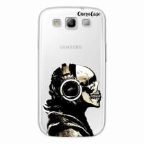 Capa para Galaxy S3 Caveira Headphone Transparente - Quero case