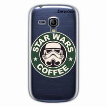 Capa para Galaxy S3 Mini Star Wars Coffee Transparente - Quero case