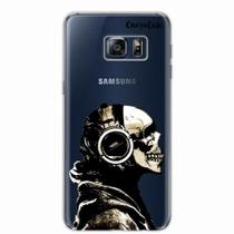 Capa para Galaxy S6 Edge Plus Caveira Headphone Transparente - Quero case