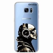 Capa para Galaxy S7 Edge Caveira Headphone Transparente - Quero case