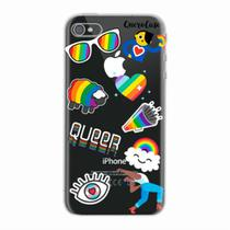 Capa para iPhone 4/4S Pride Sticker Transparente - Quero case
