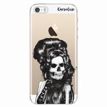 Capa para iPhone 5/5S Caveira Amy Winehouse Transparente - Quero case