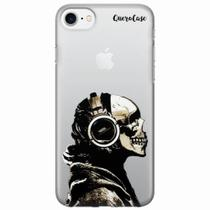Capa para iPhone 7 Caveira Headphone Transparente - Quero case