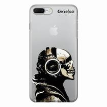 Capa para iPhone 7 Plus Caveira Headphone Transparente - Quero case