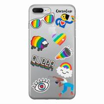 Capa para iPhone 7 Plus Pride Sticker Transparente - Quero case