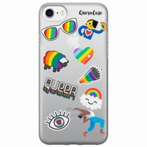 Capa para iPhone 7 Pride Sticker Transparente - Quero case