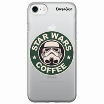 Capa para iPhone 7 Star Wars Coffee Transparente - Quero case