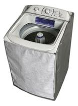 Capa Para Máquina de Lavar Electrolux 17kg Funcional com Zíper e Painel Transparente Cinza - Vip Capas