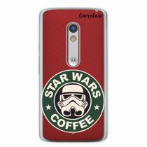 Capa para Moto X Play Star Wars Coffee Transparente - Quero case