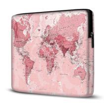 Capa para Notebook em Neoprene - CN - Mapa Mundi Rosa - Case Notebook