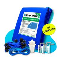 Capa para Piscina 10 em 1 Proteção Azul 300 Micras 6,5x3,5 - Shoplonas