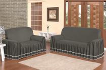 Capa para sofá dalia 2 e 3 lugares - cinza - Enxovais Prearo