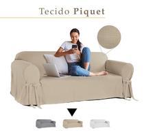Capa para Sofá de 2 Lugares em Piquet Resistente Decorativa - Casabrasile