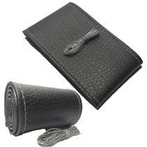 Capa para Volante de Carro Couro Artificial Preto com Costura Cinza Estilo Elegante Material de Qualidade - Nov