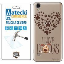 Capa Personalizada I love Dogs + Película de Vidro para LG X Style K200 - Matecki -