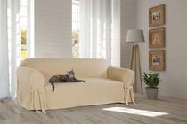Capa Protetor de Sofá 4 Lugares Tecido Gorgurão Lisa Sala Decorativa Resistente Kids Pets Gato Cachorro - Mistero