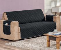 Capa protetor para sofá 3 lugares impermeável preto e caqui - Vitor Bordados