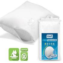 Capa Protetora de Travesseiro Impermeável Trisoft Percal 200 Fios 100% Algodão Egípcio Branca -