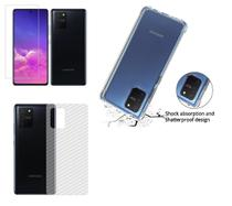 Capa Reforçada Samsung Galaxy S10 Lite + Película De Gel + Película Verso Carbono - Dv Acessorios