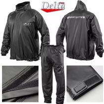 Capa Roupa Chuva Vestimenta Vestuário Jaqueta Calça Delta Flex Pvc Preta Moto Motoqueiro -